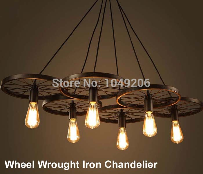 Loft Black Antique Wrought Iron Chandelier Lighting E27 110V 220V Loft  American Retro Edison Vintage Wheel - Popular Antique Iron Chandelier-Buy Cheap Antique Iron Chandelier