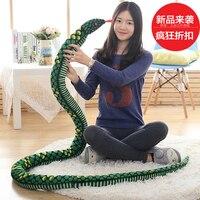 1pcs NEW Creative Personality interesting Simulation snake Animals Model Plush toy super Cobra python doll for gift toys
