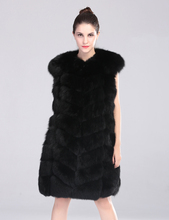 Natural Fox Fur Vest Women Black 2016 Plaid Fox Fur Waistcoat  Long Natural Fox Fur Jackets Female Fur Coat