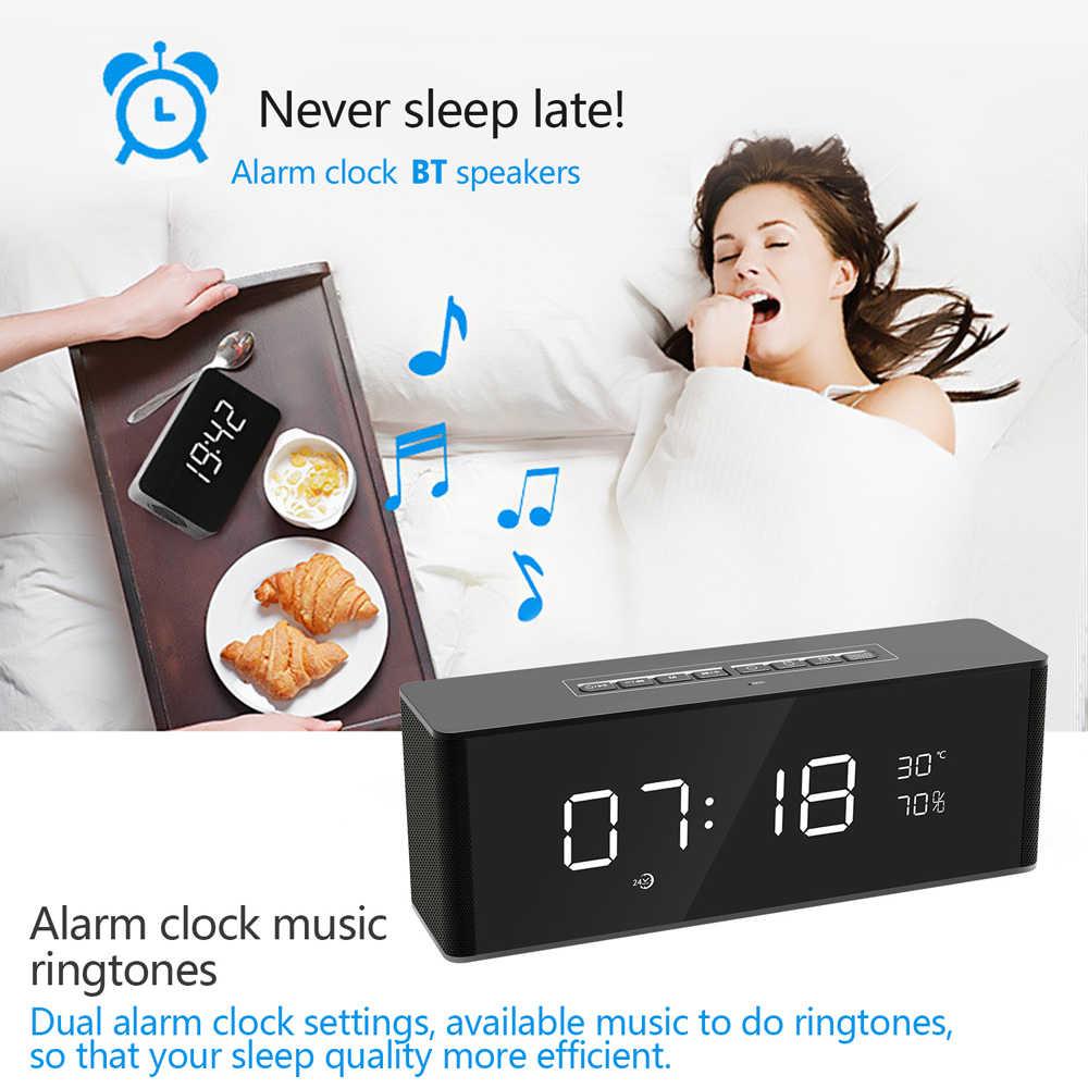 ミニディスプレイ Tf カード FM オーディオ入力低音スピーカー警報時計サウンドボックスワイヤレス警報時計 BT ホーム充電式テーブル時計