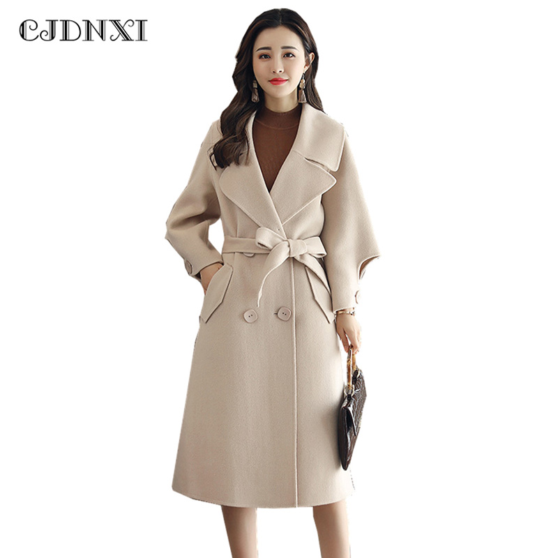 Winter Cashmere Coat Female Wool Jacket Coats Women Fashion Loose Adjustable Long Sleeve ...