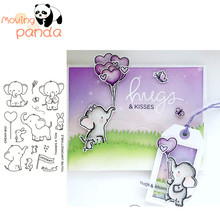 2019 Elephant Friends Metal Cutting Dies and Clear Stamps for Scrapbooking DIY Card Making Crafts Stencil
