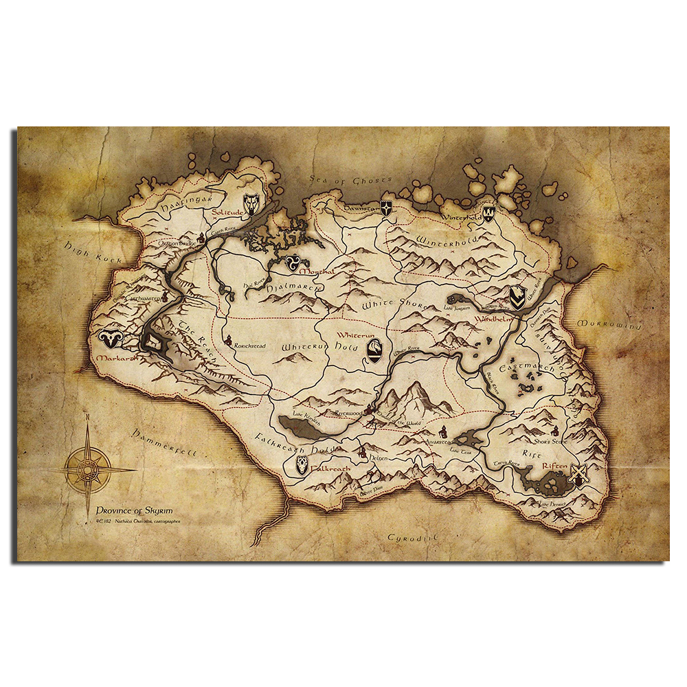 US $8.08 19% OFF|The Elder Scrolls V Skyrim Map Game Poster Canvas on skyrim hermaeus mora, nirn complete map, skyrim all locations discovered, zelda cloth map, skyrim changing character, dark souls cloth map, elder scrolls online cloth map, skyrim ancient shrouded armor, skyrim elder scroll dragon location, skyrim cloth items, elder scrolls full map, skyrim game, skyrim how do i change in bedroom, skyrim cloth armor,