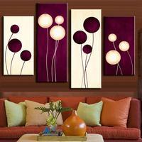 4 adet/takım soyut duvar sanat simple mor beyaz circles balon şekil boyama baskılar tuval üzerine ev dekorasyon