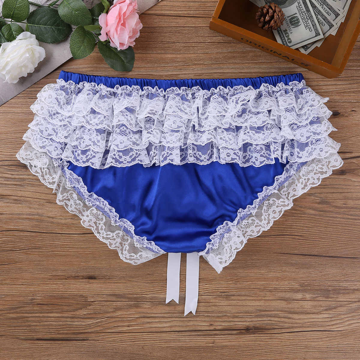 bb3f0decef9a ... Soft Lace Floral Briefs Gay Men Underwear Sexy Jockstrap Cute Thongs  Bowknot G strings Homme Panties