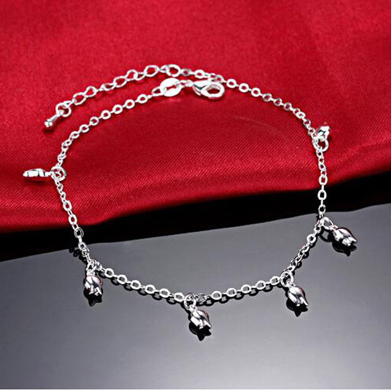 Hot Sale Hollow Rose Pendant Foot Anklet Chain 925 Silver Plate Ladies Anklets Bracelet for Women's Jewelry Gift