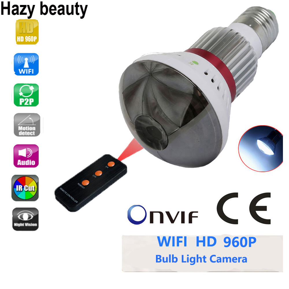 Hazy beauty HD 960P Mirror Cover Bulb LED Light Motion Detection WIFI Camera DVR Home Security Surveillance Camera bc 883m mirror bulb lamp camera hd 960p wifi ap hd 960p ip network camera with real light remote control 2017 new arrival