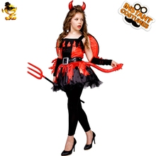 DSPLAY Halloween Devil Girl Costume Girls High Quality Fire Red Fancy Dress Costumes For New Year Carnival Party