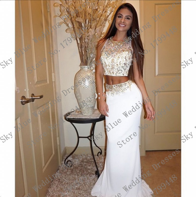 79b30575293 Elegant O Neck Beaded Two Piece White And Gold Prom Dresses with Rhinestones  Mermaid Evening graduation dresses for high school-in Prom Dresses from ...