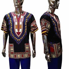 African Short Sleeve Shirt Round Collar Black Color Dashiki Men Clothes ONE SIZE  XDMT01