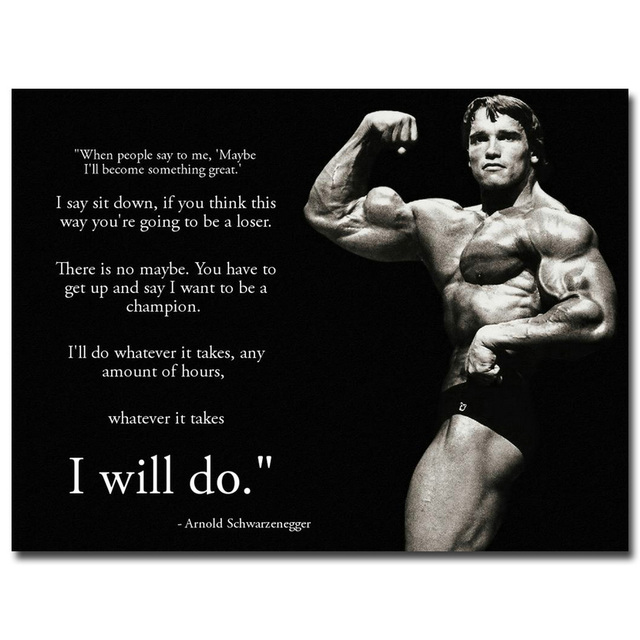 Superb NICOLESHENTING Arnold Schwarzenegger Motivational Quote Art Silk Poster  13x18 24x32inch Bodybuilding Wall Picture Gym Room Decor