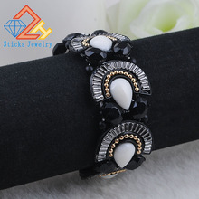 1pcs/lot 22mm Fitting Jewelry Alloy Electrophoresis black Plated Metal Elastic Bracelet  Free Shipping