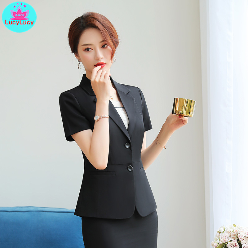2019 Summer Women's Korean Fashion Temperament Short-Sleeved Black Suit Skirt Professional Suit 2 Sets V-Neck  Single Breasted
