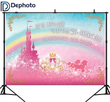 DePhoto Sparkly Gold Royal Princess Photography Backdrops Rainbow Pink Castle Baby Shower Birthday Party Banner Photo Background(China)