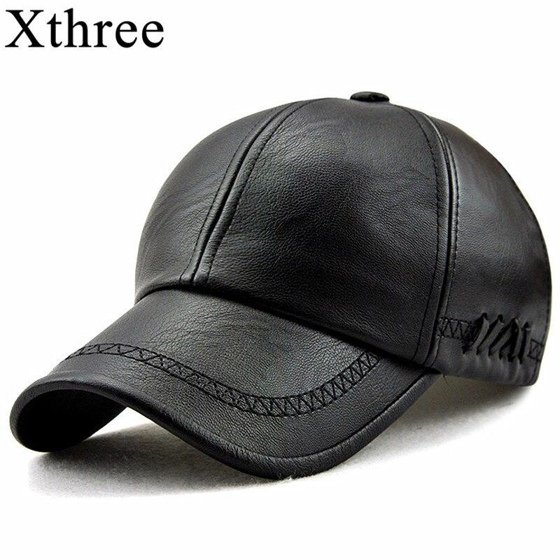 Xthree New fashion high quality fall winter men leather hat Cap casual moto snapback hat men's baseball cap wholesale