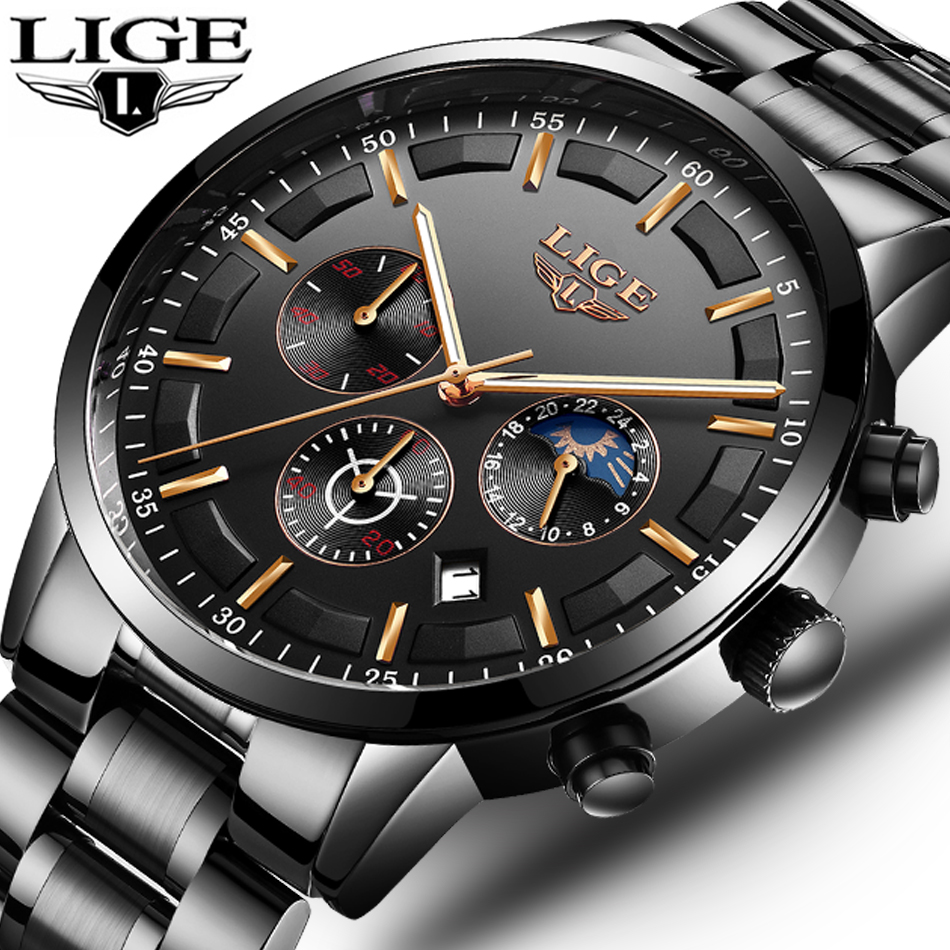 LIGE Fashion Mens Watches Top Brand Luxury Business Waterproof Quartz Watch Men Full Steel Sport Wristwatch Relogio Masculino mens watches top brand luxury sport quartz watch men business stainless steel silicone waterproof wristwatch relogio