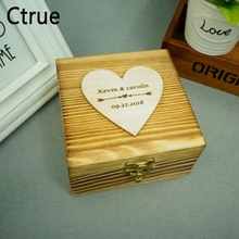 Rustic Ring Bearer Box With 25pc love heart Personalize Wedding Customized Gift Wooden ring holder box