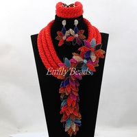 Exclusive Red Crystal Chunky Statement Necklace Set Gold Dubai African Wedding Women Bridal Jewelry Set Big Flower ALJ588