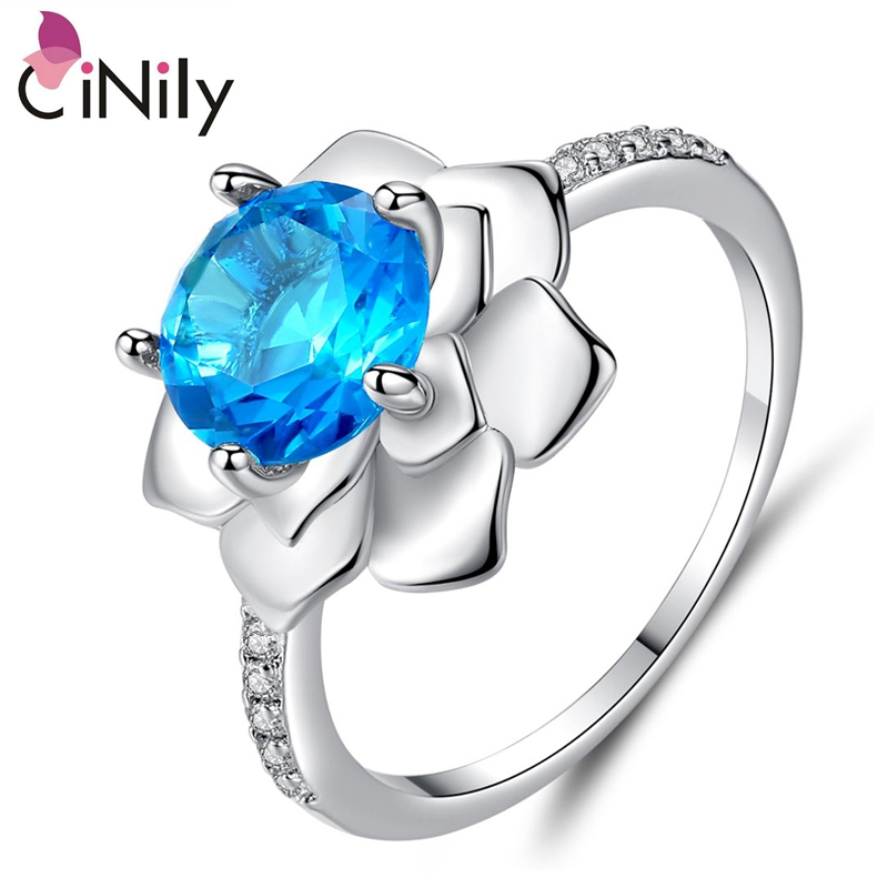 Cinily Stone Jewelry Zircon Flower-Shape Ring-Size Wedding-Engagement Silver-Plated Blue