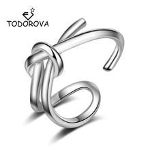 Todorova Double Bow Knot Opening Adjustable Rings for Women Jewelry Wedding Engagement female anel bague femme ringen