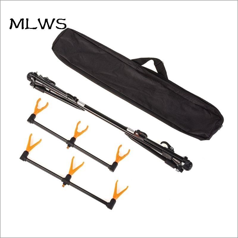 MLWS 1 Set canne à pêche pôle Support pêche en mer réglable rétractable 3 supports 4 pieds attirail cannes accessoires tente W20