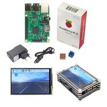 Raspberry Pi 3 starter kit оригинальной Raspberry Pi 3 + 3.5 дюймовый сенсорный экран + 9 слой акрилового чехол + 2.5A Мощность Plug + теплоотвод