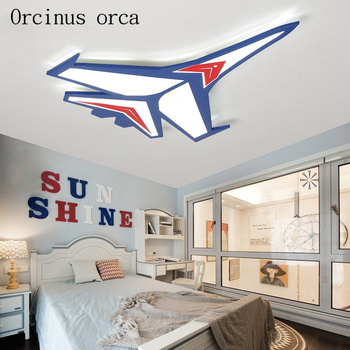 현대 만화 항공기 천장 조명 어린이 방 소년 침실 크리 에이 티브 따뜻한 눈 에너지 절약 파란색 항공기 천장 조명