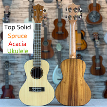 Ukulele 23 Inches Top Solid Spruce Acacia Mini Electri Concert Acoustic Guitars 4 Strings Ukelele Install Pickup Travel Guitar цена 2017