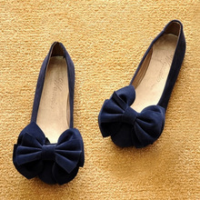 women's suede bow ballet flat shoes stylish and comfortable zapatos mujer sapatos loafers big yards
