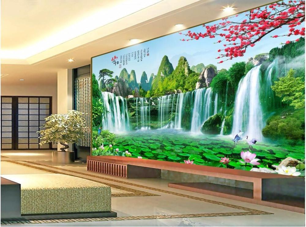 3d papel pintado personalizado foto mural cascada paisaje for Papel tapiz estilo mural