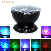 купить 7Colors LED Night Light Starry Sky Remote Control Ocean Wave Projector with Mini Music Novelty baby lamp night lamp for kids онлайн