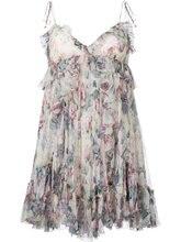 Women multicolour silk floral print cami dress spaghetti strap ruffle silk dress