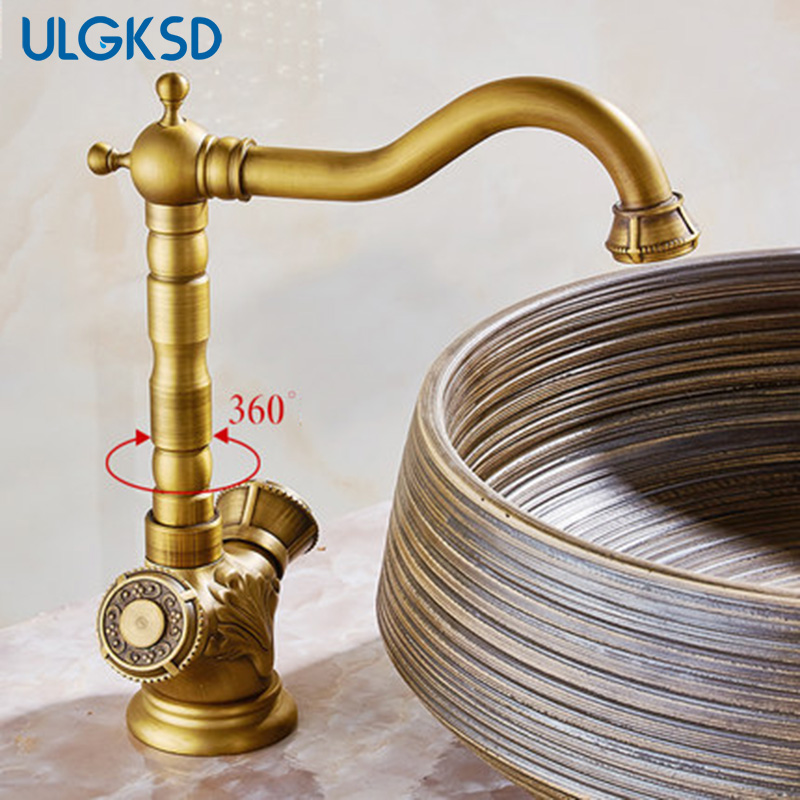 Basin faucet Antique brass Dual Handles no led bathroom faucets ...