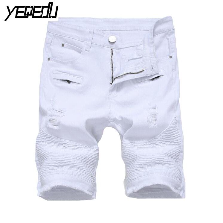 #1421 High street Black/white/red shorts men Jeans punk short homme Denim shorts mens Stretch Big size Casual short hombre