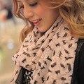 El envío Libre 2016 nueva llegada del otoño y el invierno las mujeres russy gato bufanda ultra larga del cabo del diseño largo de gasa de seda bufanda