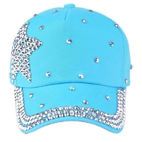 SAF-Baseball Cap Rhinestone Star Shaped Boy Girls Snapback Hat Light blue