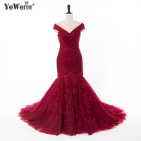 Wedding Dress 2016 Plus Size Vintage Burgundy V Neck Mermaid Wedding Dress Robe De Mariee Bridal