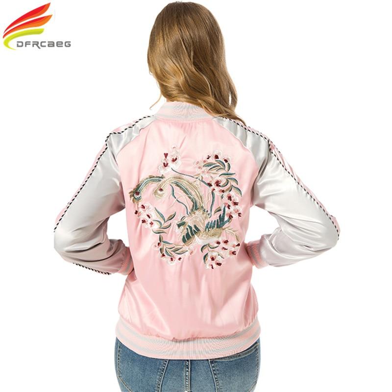 Pink Black Women Bomber   Jackets   2018 Autumn Stain Embroidered Women   Basic   Coats Casual Jaqueta Feminina Coat Long Sleeve Casacos