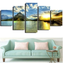 Golden Light Lake Reflection Sun Sunset Landscape Picture for Dining Room Wall Decor Seascape Poster Wall Art Canvas Print Gifts цена
