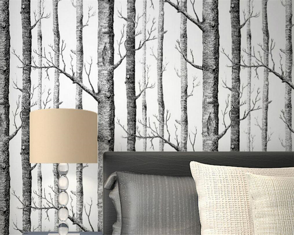 Beibehang Black and white branches wallpaper white birch forest living room wallpaper restaurant wallpaper 3d wallpaper roll beibehang wallpaper blackboard geometric mathematical formula style wallpaper living room room cafe black white wallpaper roll