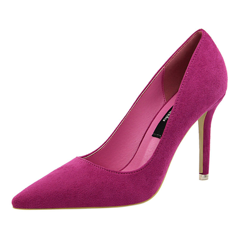 {D&Henlu}Women Shoe Purple Shoes Heel Woman Flock High Heels Women Pumps Ladies Office Shoes Pointed Toe Summer Heels(China)
