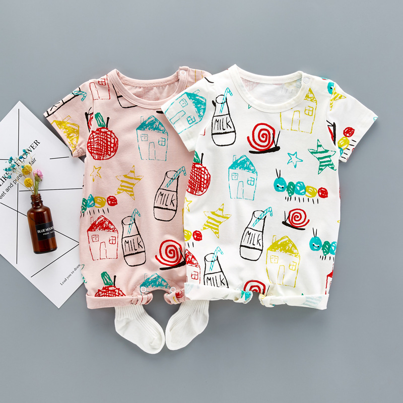 Newborn Baby Boy Girl House Romper Jumpsuit infant Graffiti printed Clothing Outfit Short Sleeve Cotton Rompers Playsuit summer newborn boy clothes christmas baby rompers long sleeve newborn clothing baby girl romper cotton baby jumpsuit infant rompers