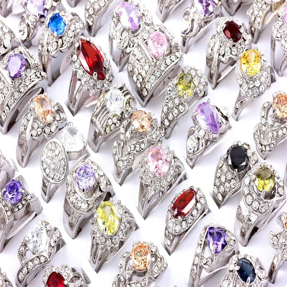 ᗐLotes al por mayor Mezcla 12 Ps Tamaño Crystal Cubic Zirconia Del ...