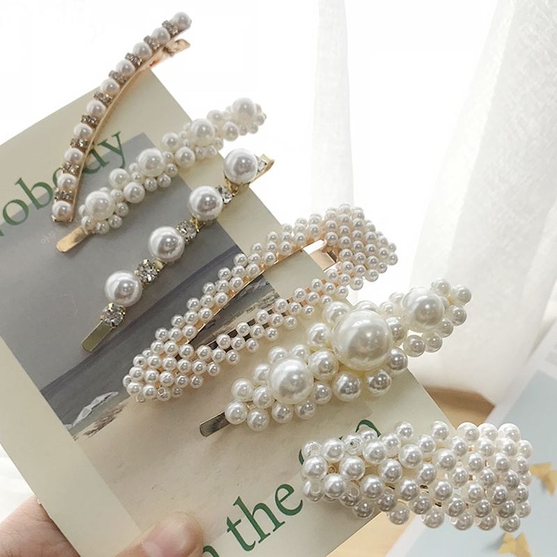 New Fashion Luxury Pearl Hair Clip for Women Girl Gold Metal Hairpin Barrettes Snap Hairgrip Wedding   Headwear   Hair Accessories