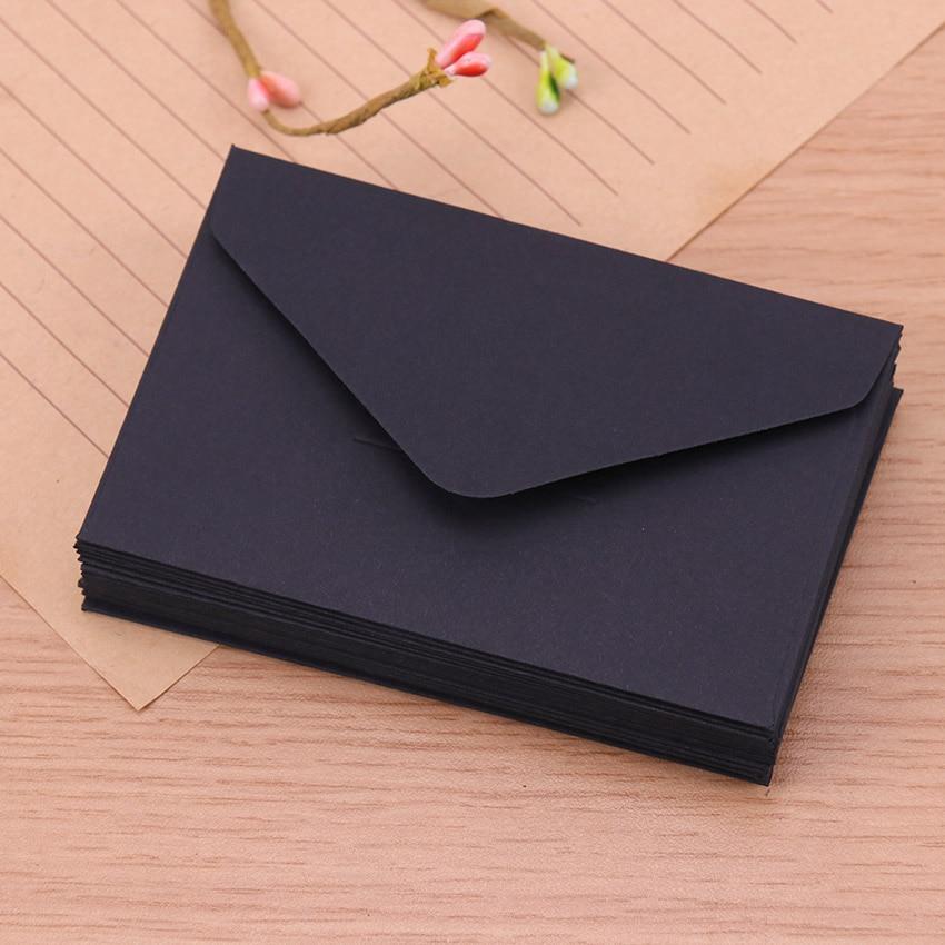 20 шт Классическая белая черная крафт-бумага пустая мини-бумага конверты для окна свадебные приглашения конверт Подарочный конверт - Цвет: Черный
