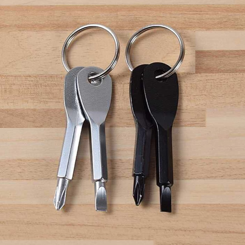 Pocket Multifunctional EDC Portable Phillips+Slotted Screwdriver Keychain Tool Y