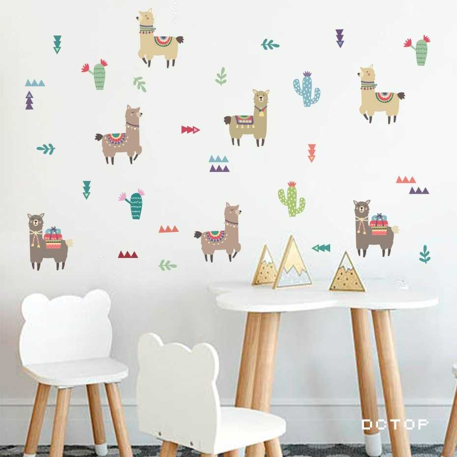 Cartoon Animals Alpaca Llama Wall Stickers Beautiful Cactus Plant Decals For Living Kids Nursery Room Modern Art Home Decoration