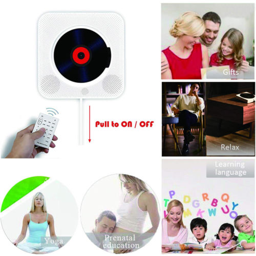 Wall Mounted CD Player Surround Sound FM Radio Bluetooth USB MP3 Disk Portable Music Player Remote Control Stereo Speaker Home 4