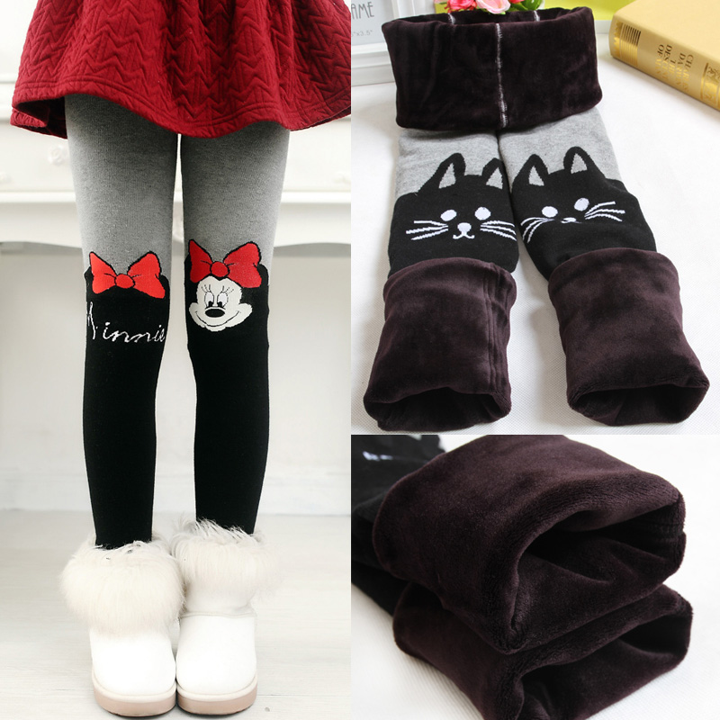 все цены на New Winter Spring Fur Leggings For Girls Children Pants Kids Thick Warm Elastic Waist Plus Velvet Leggings Pants Kids Leggings онлайн