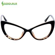 SOOLALA Cat Eye Reading Glasses Women Men Oversized Reading Glasses +0.5 0.75 1.25 1.75 2.25 to 4.0 Custom Myopia Glasses